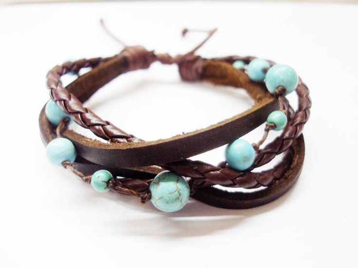 Turquoise,dark brown leather Bracelet