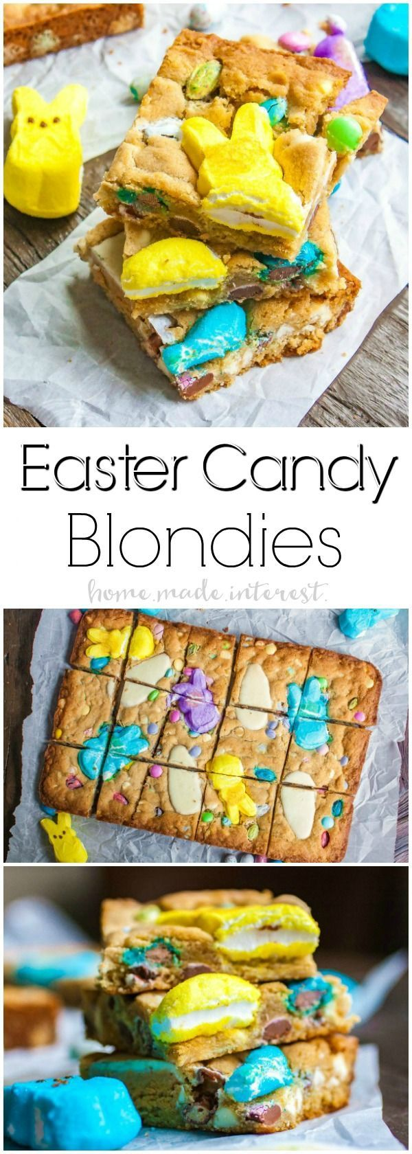 Easter Candy Blondies | Looking for something to do with all of that leftover Easter candy? This easy blondie recipe uses Peeps along with all of your other favorite Easter candy to make Easter Candy Blondies. If you're looking for a fun Peeps recipe you're going to love this! This Easter dessert recipe is so good and so simple to make! #easter #easterdessert #dessertrecipes #dessert