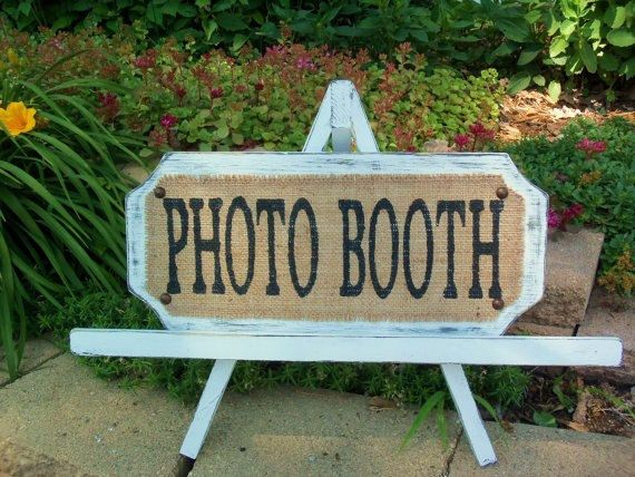 PHOTO BOOTH, White Hand Held Prop, Vintage, Burlap WEDDING Sign, Romantic Wedding Style, French Cottage. $30.00, via Etsy.