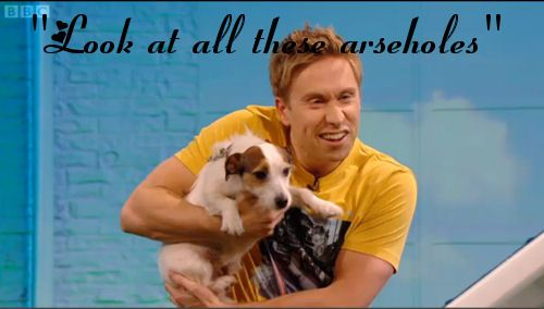 Russell Howard and his dog Archie- Archie's response when he sees the audience lol