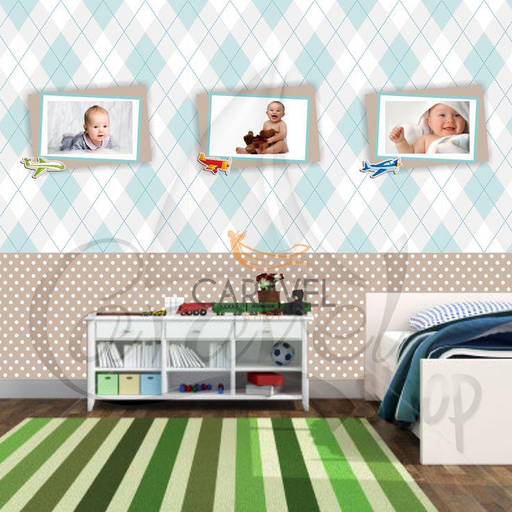 Παιδική Ταπετσαρία τοίχου με τυπωμένες κορνίζες