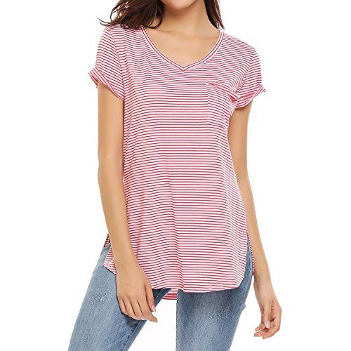 Meaneor Women's Blouses and Tops Short Sleeve V Neck T Shirt Casual Loose Shirt – Red and White   Special Offer: $15.99      133 Reviews Specifications: 5 Size: S, M, L, XL, XXL 3 Colors: Red and White, Navy Blue and White, Black and White Size Chart S: Shoulder:...