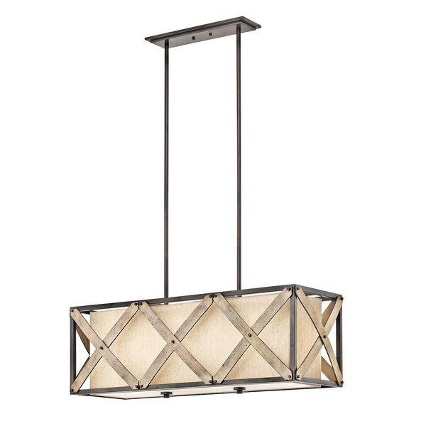 Kichler 43774avi cahoon 3 light anvil iron linear chandelier