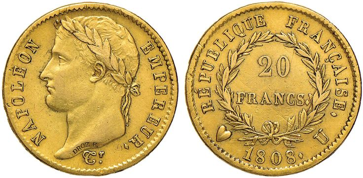 NumisBids: Nomisma Spa Auction 50, Lot 204 : TORINO Napoleone (1804-1814) 20 Franchi 1808 – Pag. 19 AU (g 6,42)...