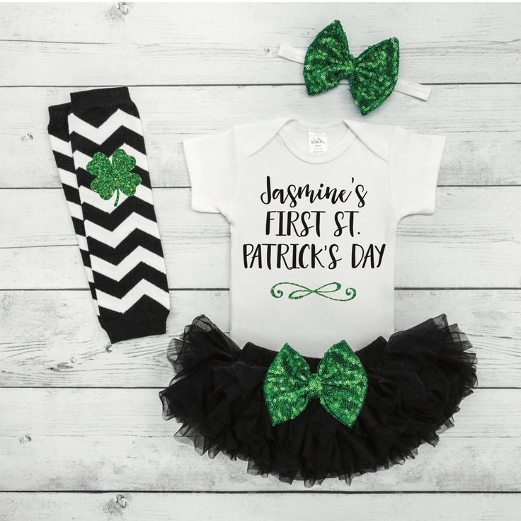 Personalized St. Patrick's Day Gift Baby Girl First St. Patricks Outfit Baby 1st St. Patrick's Day Outfit Tutu Leggings Headband Set 015S #Baby #baby_girl_st._patricks_day #baby_girl_st._patricks_days