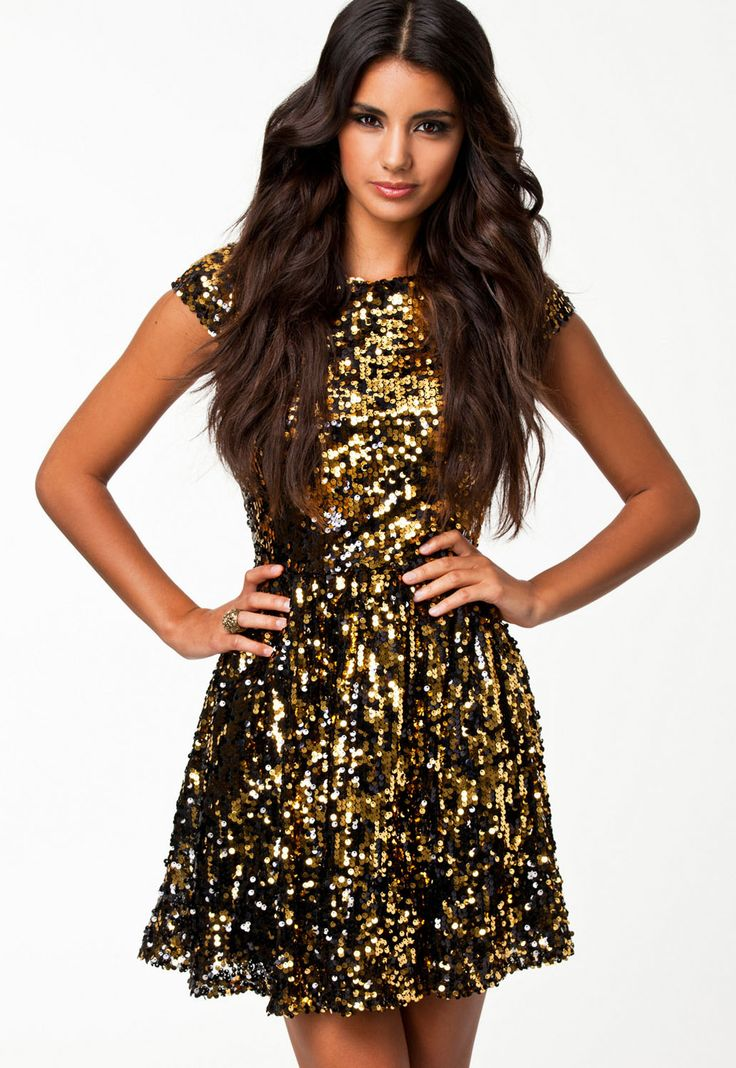 Golden Flashy Sequin Textured Skater Dress