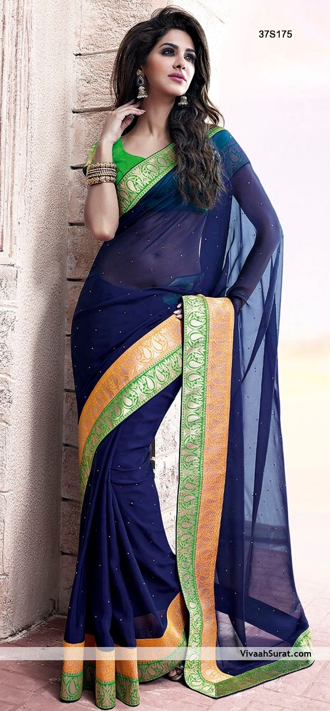 Aesthetic Navy Blue Georgette Saree