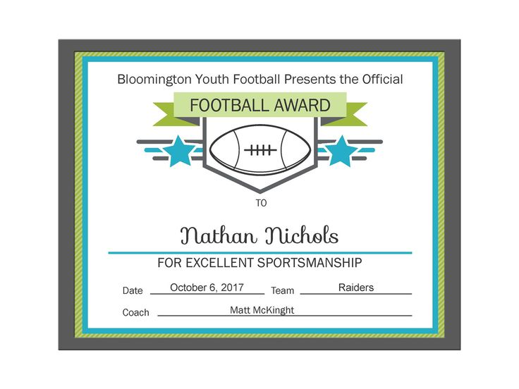 Editable PDF Sports Team Football Certificate Award Template in 3 colors Pink, Blue and Black by creativerags on Etsy https://www.etsy.com/listing/549607678/editable-pdf-sports-team-football