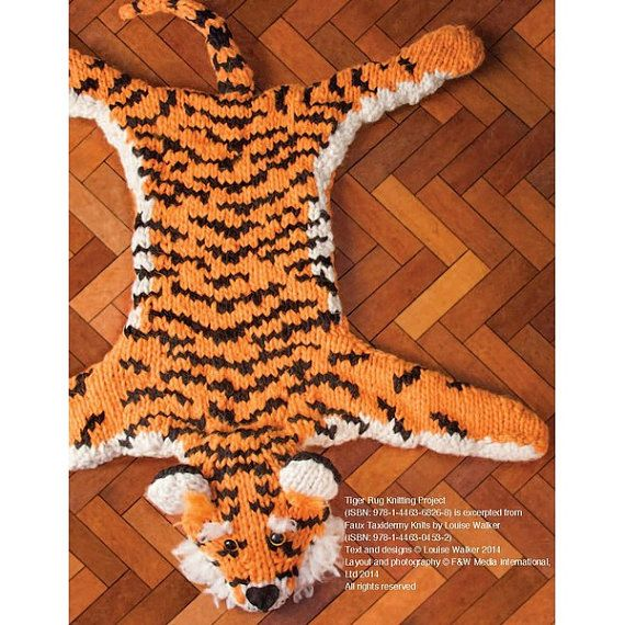 I would love this for a Jungle Book themed room https://www.etsy.com/fr/listing/204674061/tiger-rug-knitting-pattern-download