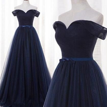 Charming Prom Dress,Navy Blue Prom
