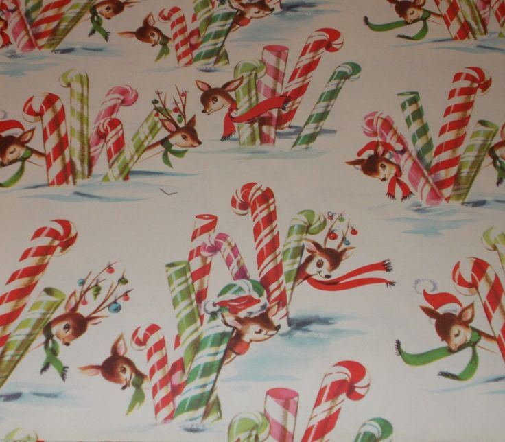 VTG CHRISTMAS WRAPPING PAPER GIFT WRAP 1950 REINDEER CANDY CANE SNOW NOS MCM | eBay