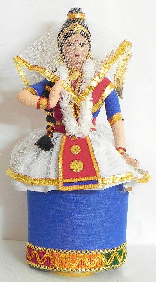 Manipuri Dancer from India - Costume Cloth Doll