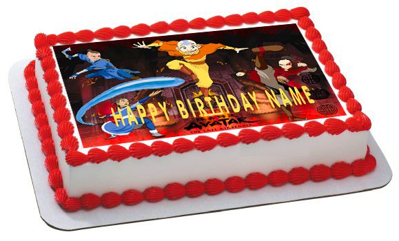 AVATAR AIRBENDER Edible Birthday Cake Topper OR Cupcake Topper, Decor - Edible Cake Image