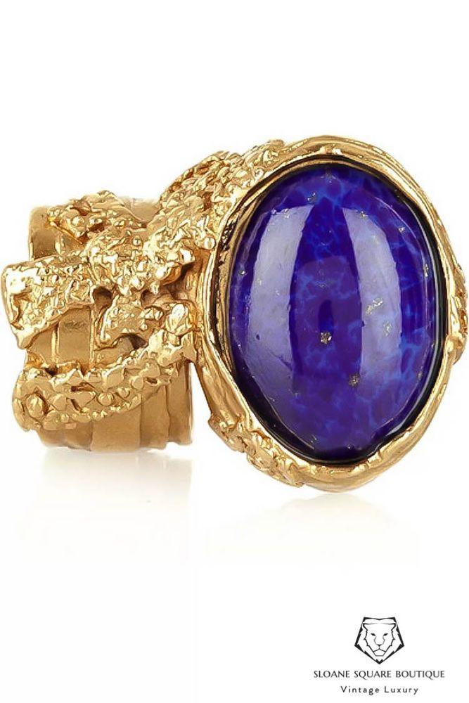 435eb44b628 YSL YVES SAINT LAURENT Statement Ring Gold & Blue Lapis Arty Ring Harrods  Size 8 (eBay Link)