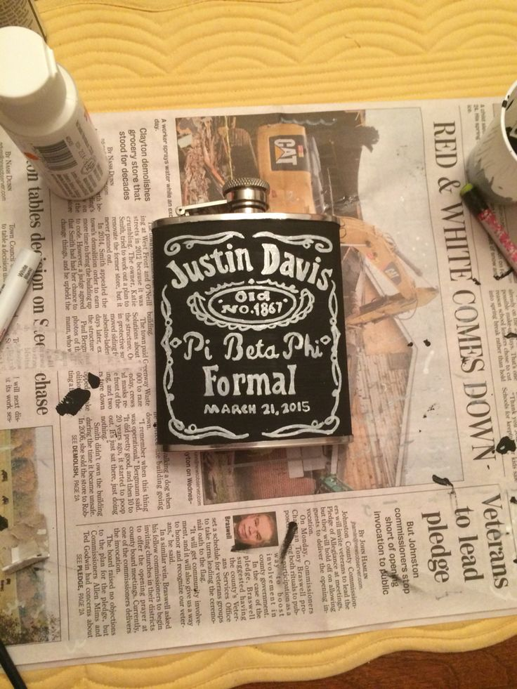Jack Daniel's inspired flask for my sorority formal date!