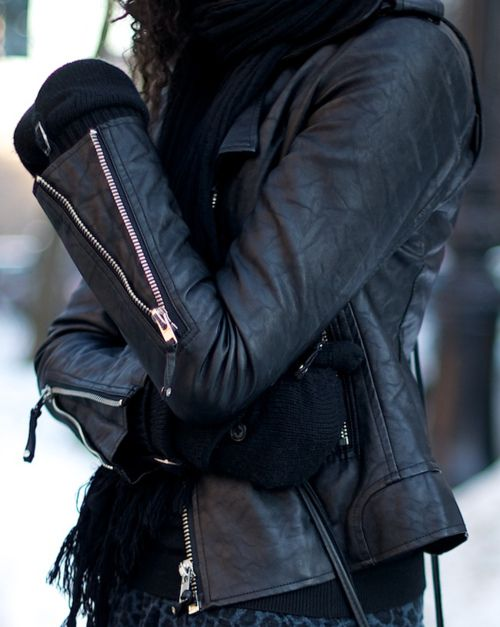 love leather jackets with scarfs!!