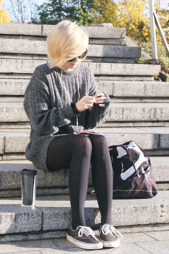 Sweater dress & 80 denier Pantyhose / Tights