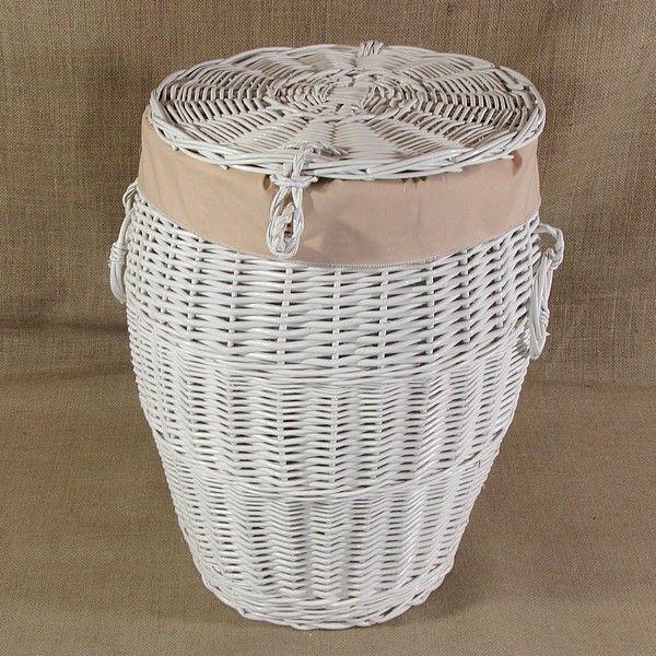 Biały wiklinowy kosz na pranie obszyty materiałem w kol. cappuccino