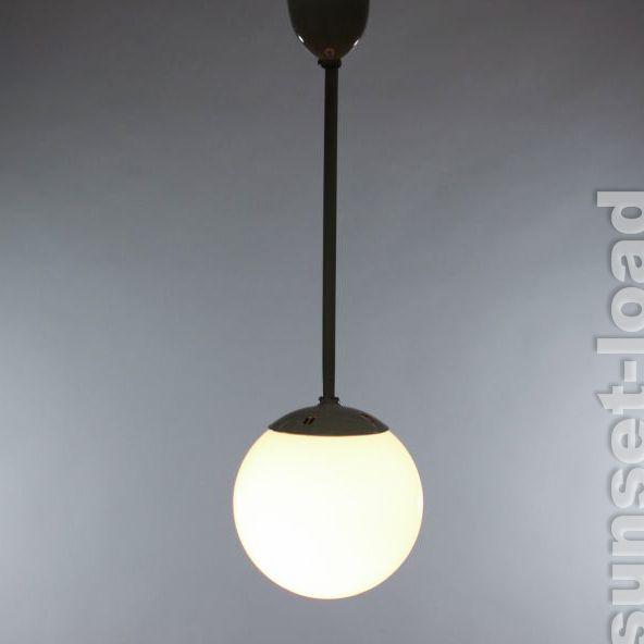 Alte Art Deco Pendel Stab Lampe Opal Glas Kugel Amp Emaille 20er