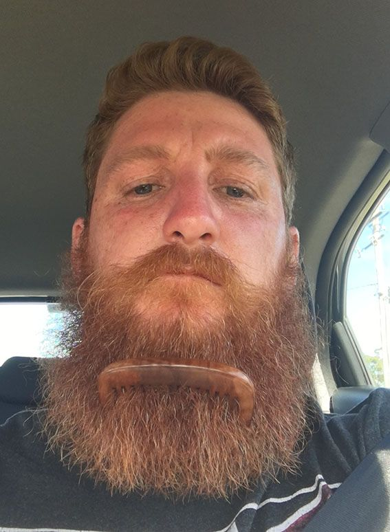 BIG BEARD - Long locks require a gentle but manly styling tool to help detangle and tame the facial hair. Jim Jones shows us how good the Milkman wooden beard comb is for just that. Click here to get yours. #beardcomb #woodcomb #comb #milkman #beard