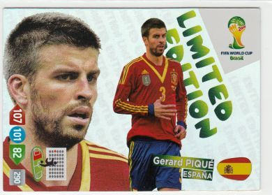 Adrenalyn XL World Cup Brazil 2014 Gerard Pique Limited Edition Trading card