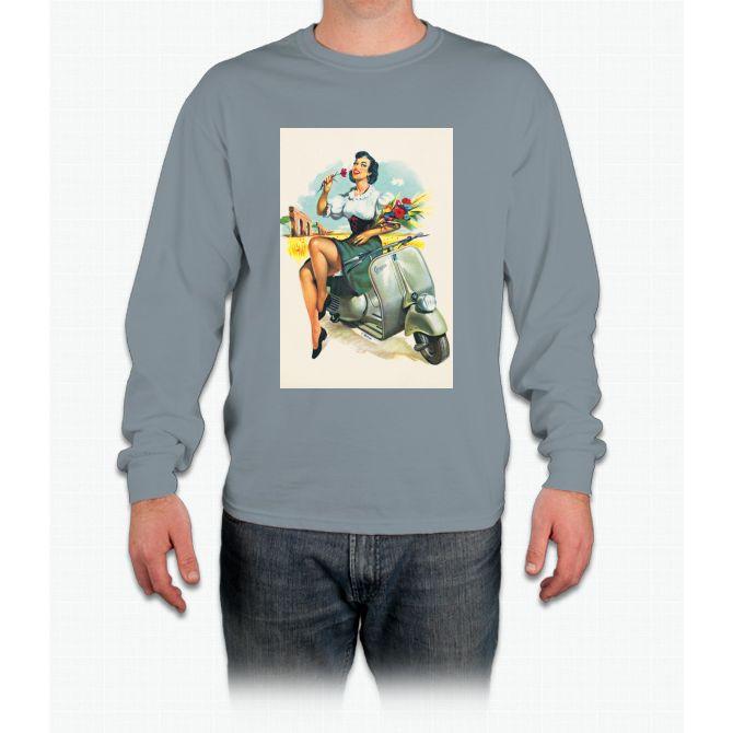 Girl, Flower & Scooter Vespa Long Sleeve T-Shirt