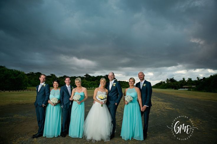 Lease's bridesmaids wearing our Molly & Tiana gowns in Turquoise - Available at Bridesmaids Only