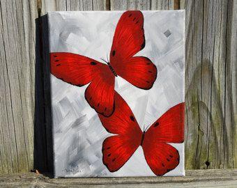 Unique Purple Butterflies Handpainted on 8x10 by ColorsbyRuth