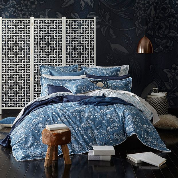 This bedcover and pillow design of Florences could come across as being busy and boring on it's own. However being layered in-between plain pillows and sheets breaks it up and gives contrast and a relaxed vibe. The throws gives some more texture and dimension and the geometric printed cushion in the centre of the bed draws your eye into a central focal point -so much you nearly miss Florences wallpaper on the back wall! A great example of various patterns working together and not being too…