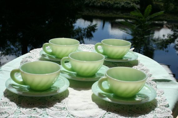 5 place setting vintage french green milk by FromParisToProvence, €35.00