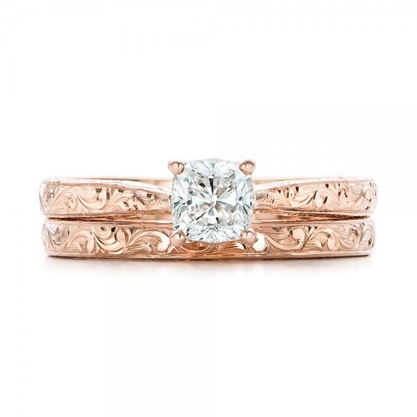 #101618 This rose gold engagement ring and matching wedding band are hand engraved to create a beautiful vintage-inspired Bridal Set. They were designed as a custom order for a...