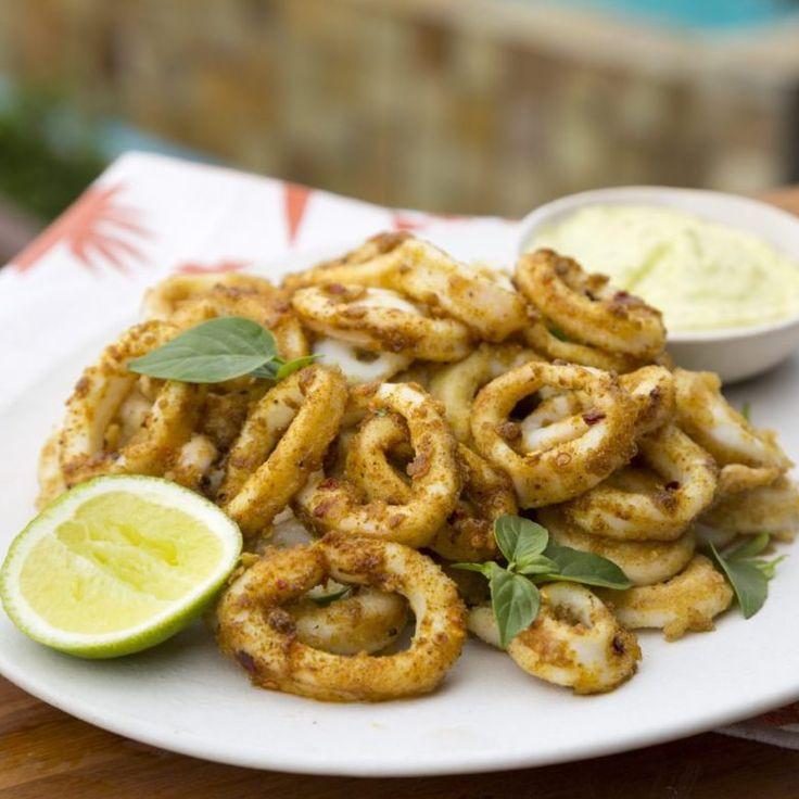 Cajun-spiced Calamari with Basil and Lime Mayonnaise recipe