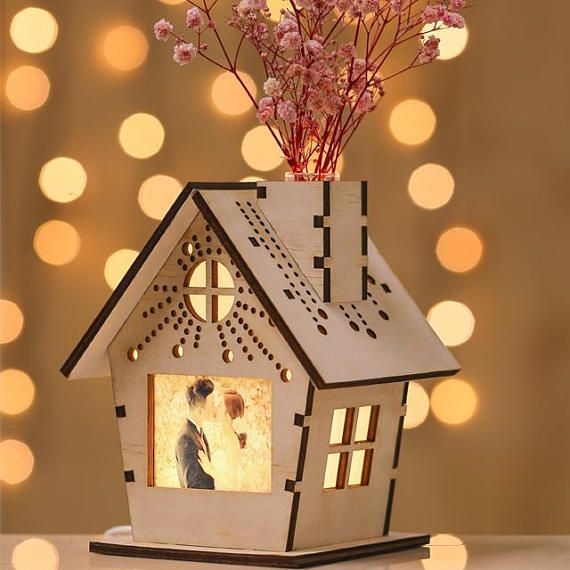 House shaped wooden miniature silhouette night lamp table