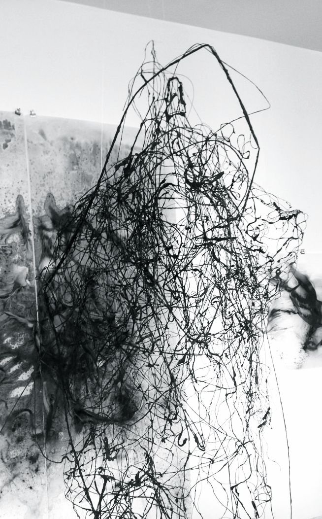 Julie Tremblay   Charcoal line sculpture (in progress), 2014
