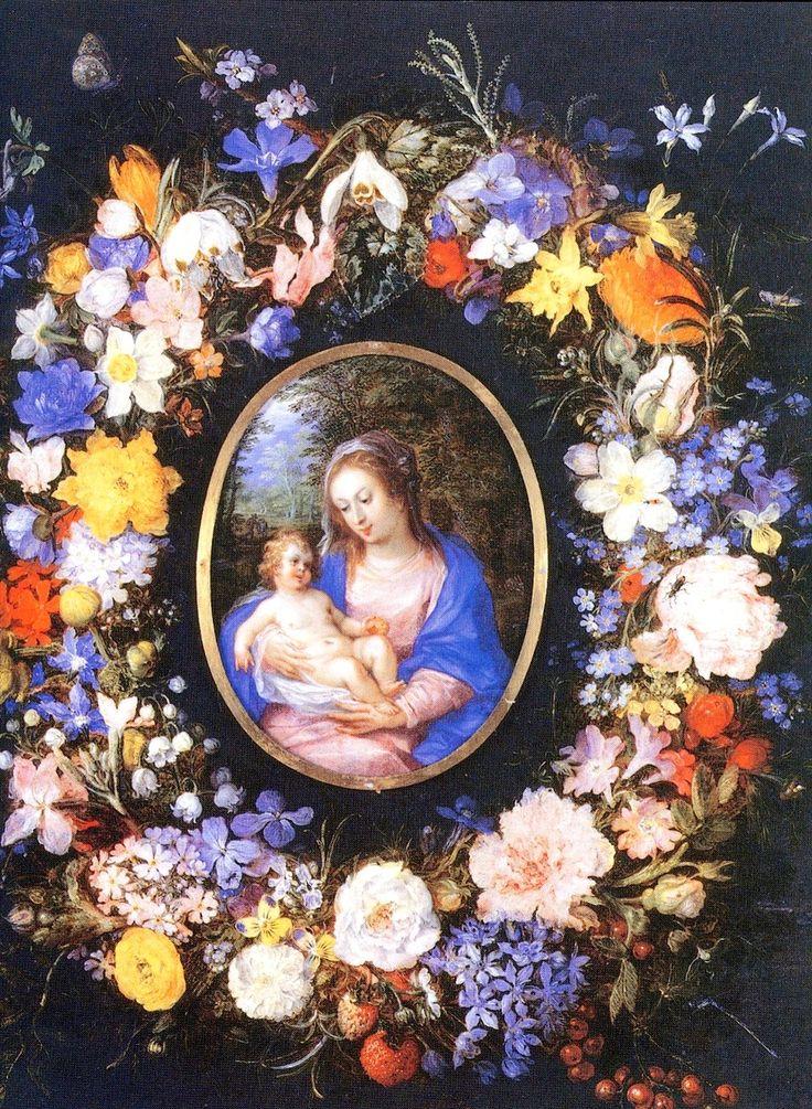 Hendrick van Balen (1575-1623) — Flower Garland Around a Painting of the Virgin and Child, 1607-1608 (900×1229)