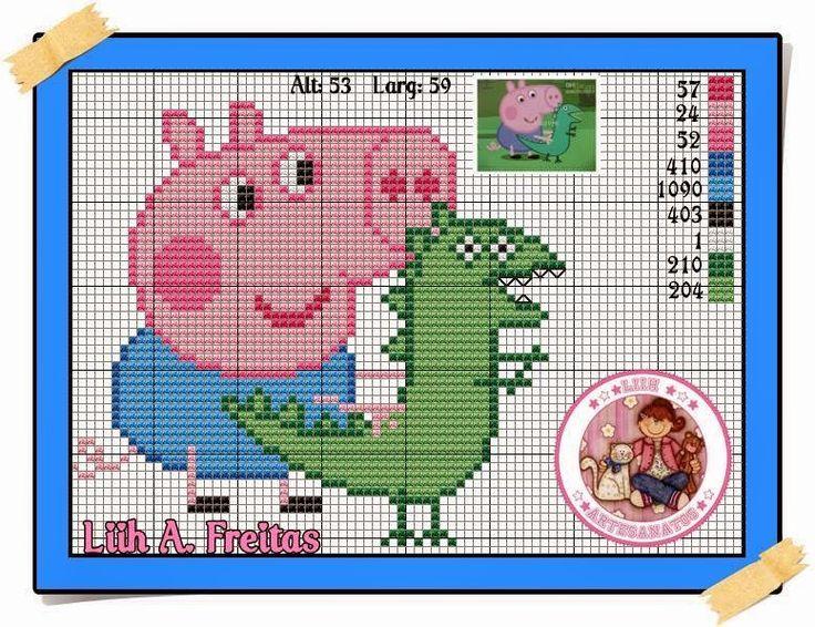 Ateliê Ponto & Patch: Gráficos da Peppa Pig e George com Dinossauro