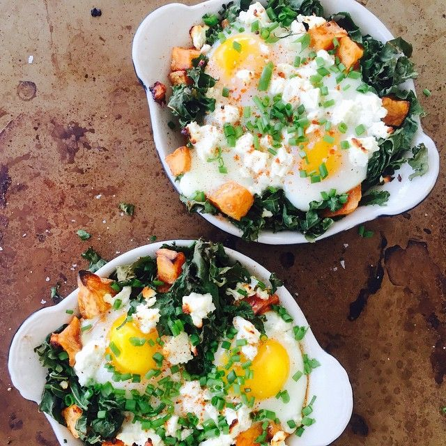 Baked Eggs With Kale, Roasted Sweet Potato, Feta & Chives