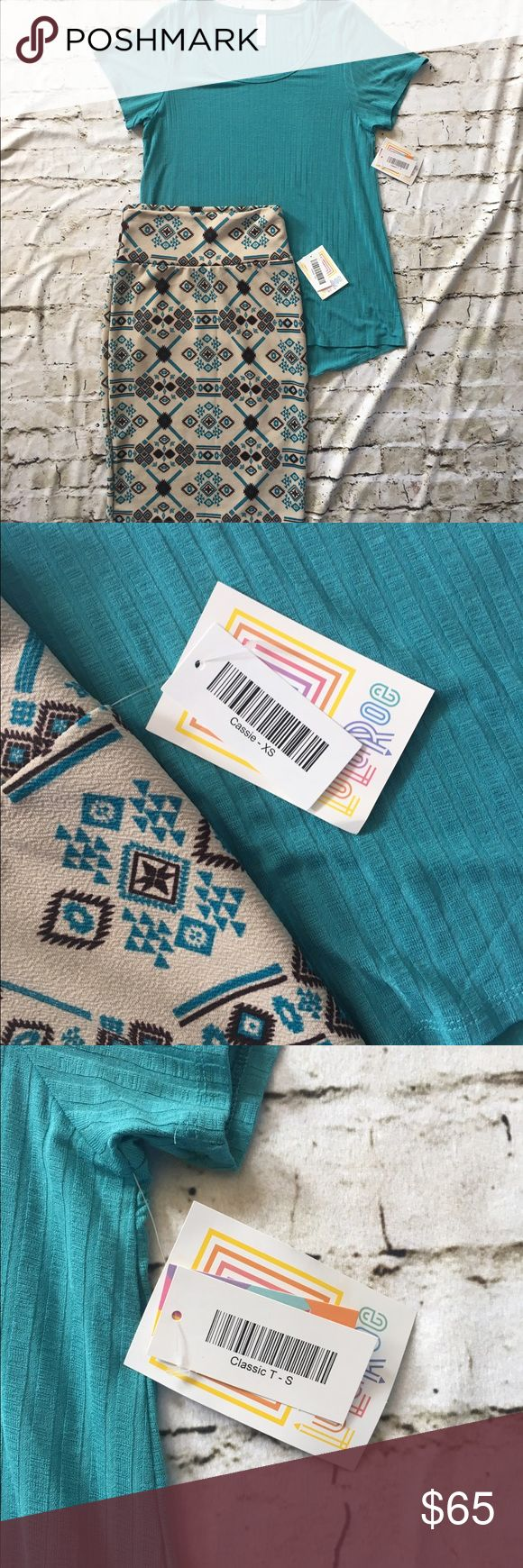 LuLaRoe Cassie Skirt & Classic T Outfit Beautiful brown, teal & beige pencil skirt with matching teal top LuLaRoe Other