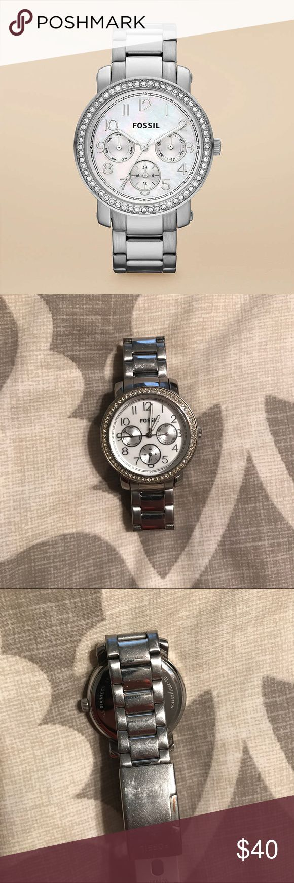 Fossil Silver Rhinestone Pearl Face Watch Beautiful watch form Fossil. I do not wear anymore due to Apple Watch purchase. It has been worn a lot so obviously scratching and wear is shown in photos. Battery has died and will need replacing. No extra links are added or available. Make an offer! Fossil Accessories Watches