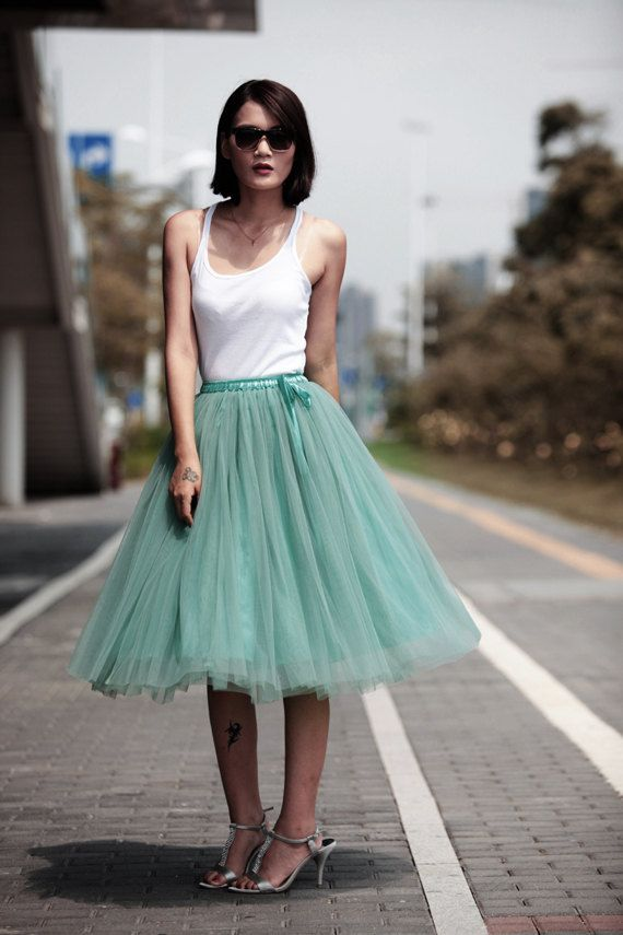 tulle skirt tea length tutu skirt knee length by