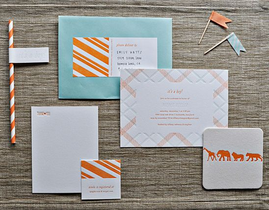 Orange and Aqua Baby Shower with Letterpress Details
