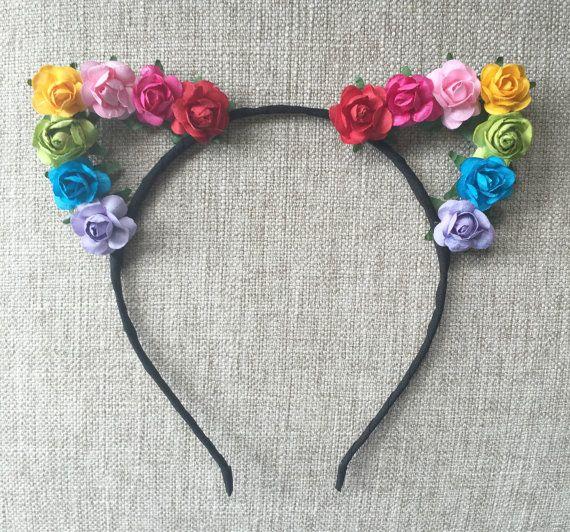 Venda de orejas gato arco iris flor orgullo oídos orejas de