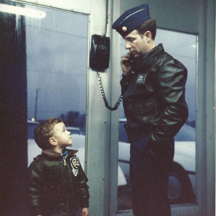Me Looking Up To My Fighter Pilot Dad In The Late 1980's