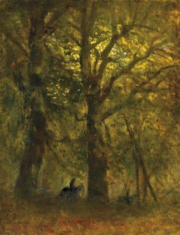 Rider in the forest by LászlóMednyánszky