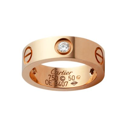 cartier love ring 18k pink gold set with 3 diamonds