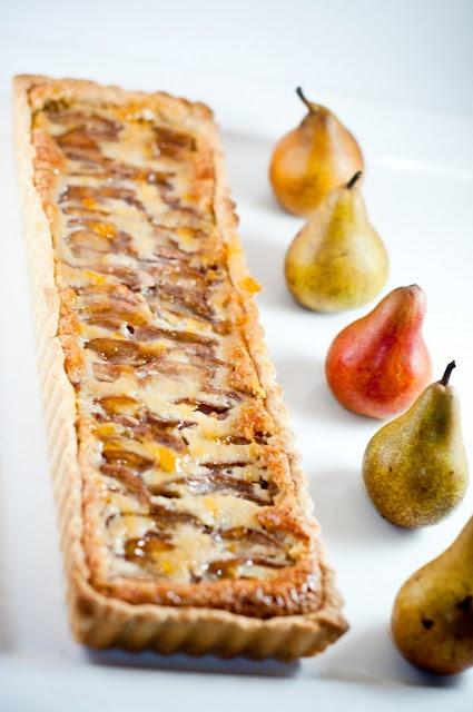Drunken pear frangipane tart