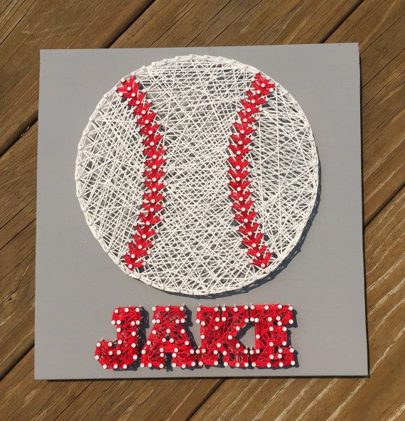 A great addition to a kids bedroom decoration or an awesome gift for any baseball lover! This listing is for an Baseball with Name string art on
