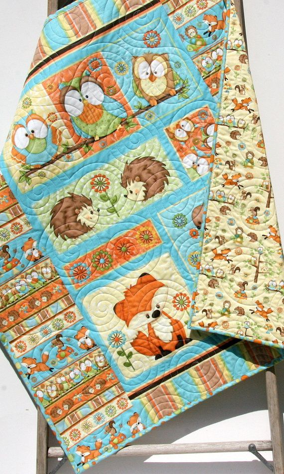 Baby Quilt Hooty Hoot Hooray Animals Nursery Decor