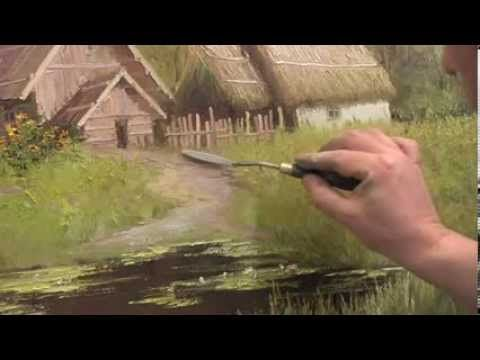 Countryside Landscape. Knife Painting, How To OIl Paint Village On Canvas by Sergey Gusev - YouTube