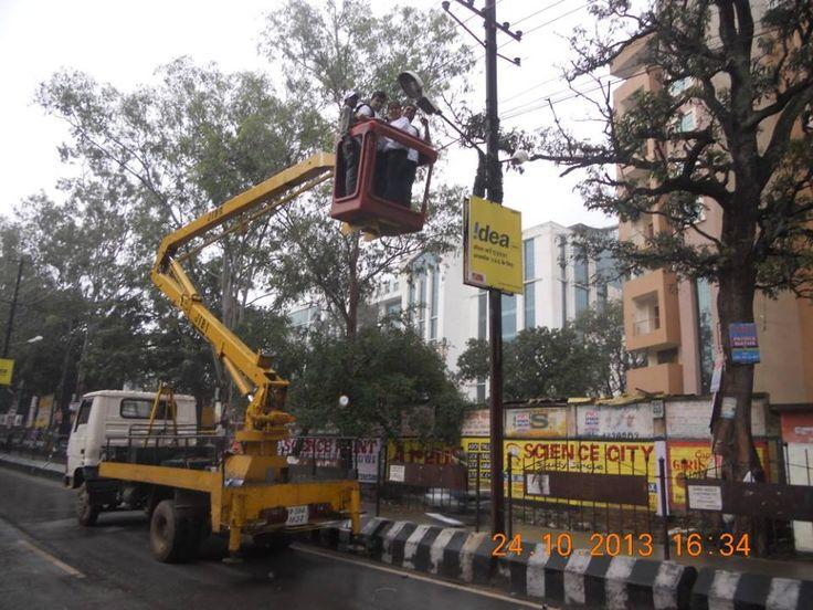 Street Light being installed near St. Xavier's College